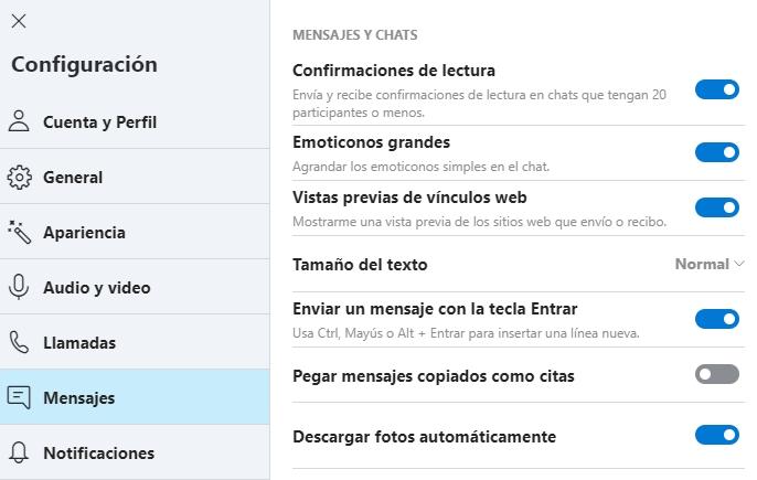 Configuracion Skype